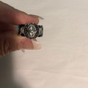 New Marc Jacobs black silver lock ring. Size 8